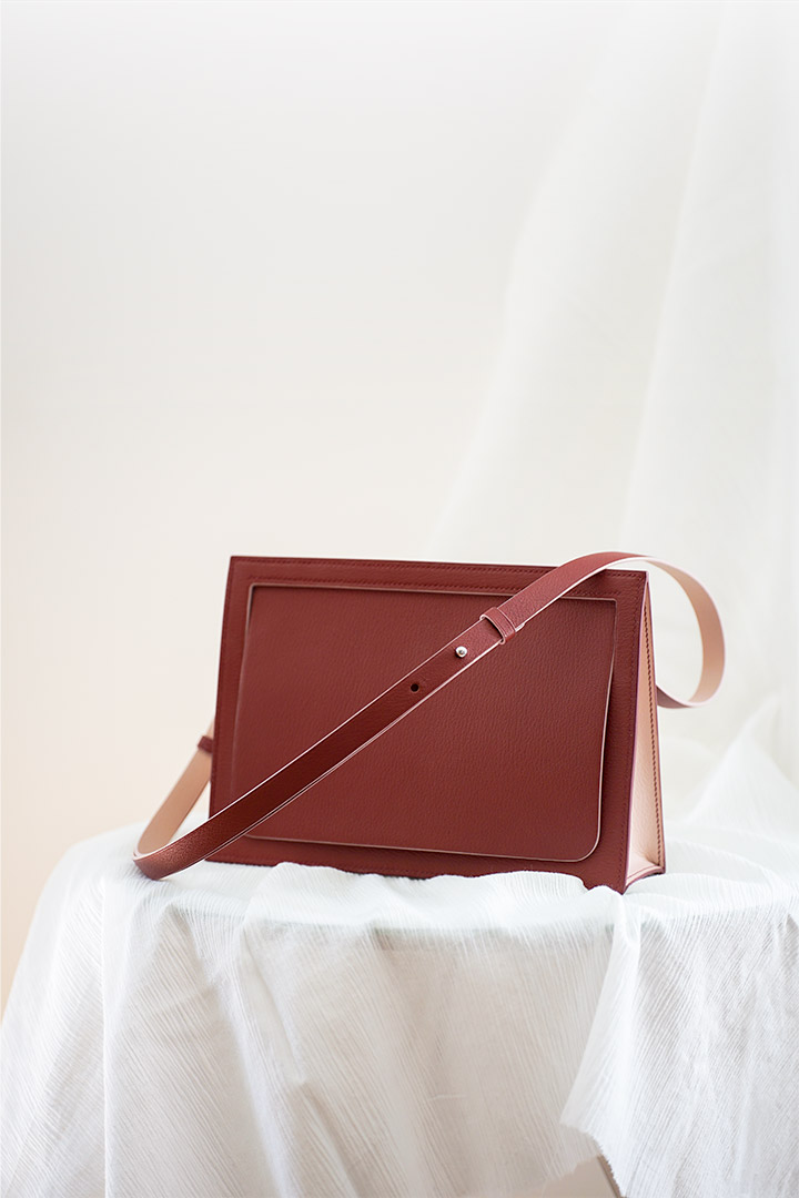 leather handbag Isabelle red goatskin